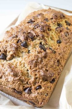 This chocolate chip banana bread is a family favorite. Perfectly moist with just the right amount of chocolate chips, it never lasts long.  www.vegandaydream.com