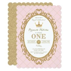 Pink Gold Princess 1st Birthday Party Crown Invite Custom Office Party Invitations #office #partyplanning
