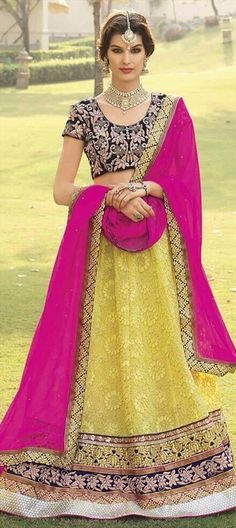 NEON GREEN + NEON PINK - We can't take our eyes off! Check out this new #lehenga for brides - http://www.indianweddingsaree.com/product/160832.html.  #Wedding #India #sale #lace #IndianWedding #IndianFashion #OnlineShopping #Partywear