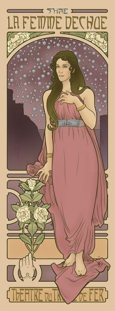"""""""The Fallen Woman Art Print"""" by Elin Jonsson   #ArtNoveau, Alphonse Mucha inspired art from Game of Thrones characters: Shae"""