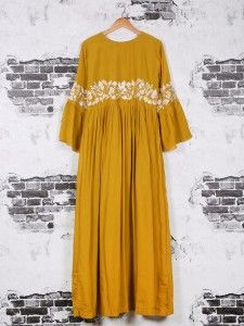 Cotton long wear kurti in musturd yellow color