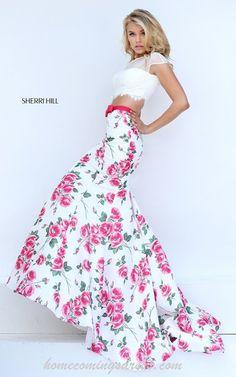 Mermaid Pink Floral Two Piece Dress 2016 Sherri Hill 50421