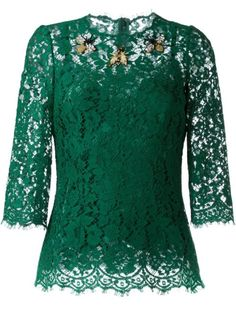Dolce & Gabbana Blusa de renda com aplicação