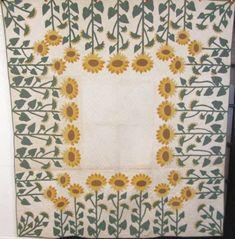 SHOWSTOPPER c 1920s Sunflower QUILT Applique Vintage Marie Webster RARE publishd