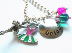 Ballet Necklace - Hand Stamped Necklace -  Personalized Green Bauble Ballerina Necklace for Children. $20.00, via Etsy.