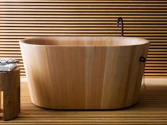 wooden bathtub for modern bathroom design