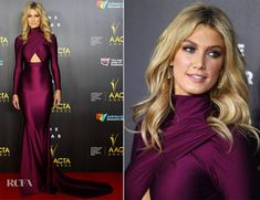 Delta Goodrem In Michael Costello- 3rd Annual AACTA Awards - Red Carpet Fashion Awards