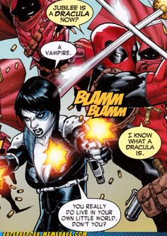 Deadpool and Domino....double kick assery!