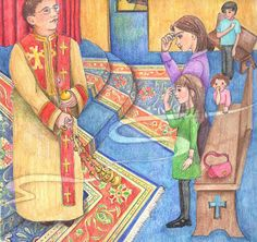 Illustrations of the Divine Liturgy Although When I Go to Church is written as an example of Divine Liturgy in the Armenian Orthodox Church, images are similar to the Divine Liturgy in the Eastern (Greek) Orthodox, with the exception of the open altar instead of the Eastern Orthodox iconostasis (icon screen).