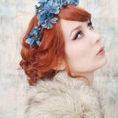 Dusk Blue on Red Hair