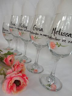 Custom Hand Painted Wine Glasses | Hand Painted Personalized Bridal Party Wine Glasses - RESERVED FOR ...