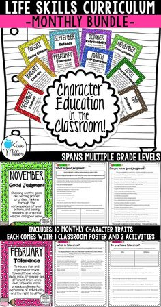 Teach your students important life skills with this Character Education in the Classroom MONTHLY Bundle which includes 10 classroom posters and 20 printables for students.  The perfect tool for growth mindset!