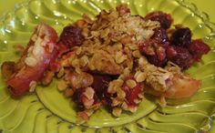 Cranberry Apple crisp - low sugar, can be made gluten free. A perfect balance of sweet and tart. http://cococooks.net/just-in-time/