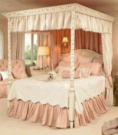 Hand Painted Floral Canopy Bed $4,500.00 (USD).  Product in photo is from www.wellappointedhouse.com