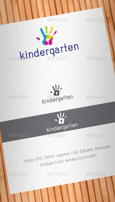 Kindergarten Logo Template — Vector EPS #education #teacher • Available here → https://graphicriver.net/item/kindergarten-logo-template/708418?ref=pxcr