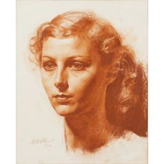 View Head and shoulder portrait of a young woman by Gerald Leslie Brockhurst on artnet. Browse upcoming and past auction lots by Gerald Leslie Brockhurst. Life Drawing, Figure Drawing, Drawing Sketches, Painting & Drawing, Art Drawings, Woman Drawing, Portrait Sketches, Pencil Portrait, Portrait Art
