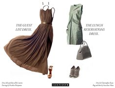 I like the brown dress and the shoes that go with it. not really into the green one or the shoes