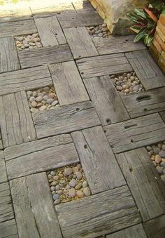 DIY Idea - Use recycled timber and pebbles to make a rustic garden path...
