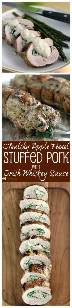 Healthy Apple Fennel Stuffed Pork with Irish Whiskey Sauce from EricasRecipes.com