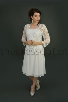 Short Mother of the Bride Dress with Jacket Plus Size Formal Cocktail Church in Clothing, Shoes & Accessories, Women's Clothing, Dresses Mother Of Groom Outfits, Mother Of The Bride Gown, Sweet 16 Dresses, Mothers Dresses, Plus Size Short Dresses, Mob Dresses, Wedding Dresses, Modest Wedding, Wedding Outfits