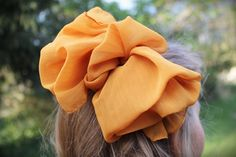 80s Ruffled Bow French Barrette in Sheer Pumpkin Spice. $6.00, via Etsy.