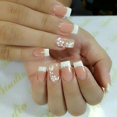 Manicure inspiration with cute decorations 005 Gorgeous Nails, Love Nails, Pink Nails, French Manicure Nails, French Tip Nails, Nail Nail, French Nail Designs, Nail Art Designs, Wedding Nails Design