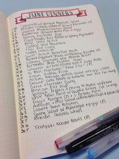 Monthly Menu Planning in My Bullet Journal