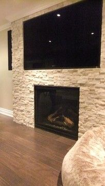 Basement With Tv Over Fireplace Design Ideas, Pictures, Remodel, and Decor