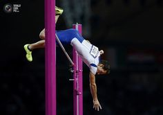 Day 14 - France's Renaud Lavillenie successfully clears 5.97m during the men's pole vault final at the London 2012 Olympic Games . MARK BLINCH/REUTERS