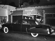 (1949)- MICKEY COHEN'S CADILLAC parked in front of SHERRY'S RESTAURANT (9039 Sunset Blvd.)