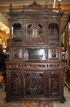 Exquisite French Antique Carved Oak Brittany Buffet / Sideboard. #Brittany