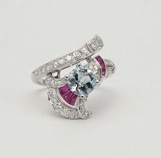 Stunning-Mid-Century-2-85ct-Aquamarine-Ruby-amp-Diamond-Ring-in-Platinum-Deco