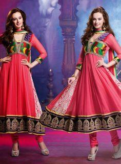 Buy Bollywood Designer Red Anarkali In georgette $78.93 . Shop at - bollywood-ankle-length-anarkali.blogspot.co.uk/2014/08/buy-bollywood-designer-red-anarkali-in.html