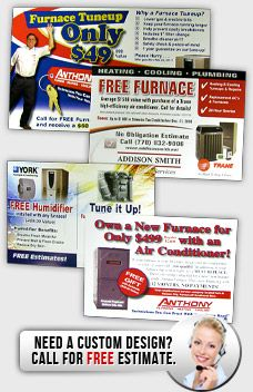 hvac postcards with design, print and mail