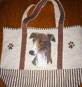 Canvas Greyhound Tote Bag, Brindle Hound