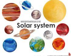 watercolor planets clip art set solar system science clip art rh pinterest com solar system clip art for kids solar system clipart images