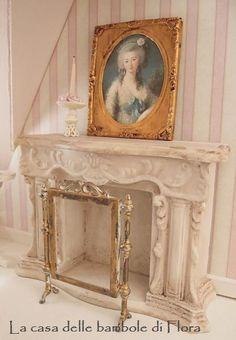 French carved fireplace  1/12 dolls house by FloraDollhouse,