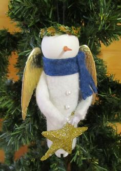Snow Angel Christmas Ornament Clothespin por ModerationCorner