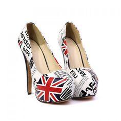 Party High Heel Letters Print Design Women's Pumps, WHITE, 39 in Pumps | DressLily.com
