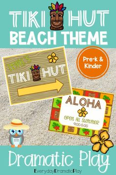 Are your young learners ready for some beach themed pretend play? The beach dramatic play is open for creating and serving tasty drinks. This summer theme dramatic play set will have your little learners counting, sorting, ordering and mixing up some fun play time with their friends in the dramatic play center. Preschool, pre-k, & kindergarten children will love using their imaginations to visit the Tiki Hut. The Tiki Hut is a perfect addition to a beach theme, ocean theme or summer theme.