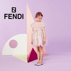 Shop Gorgeous FENDI Girls Pale Pink Silk Chiffon Feather Dress. Perfect Special Occasion & Holiday Dress. Pretty in Pink Look for Fall Winter 2015.