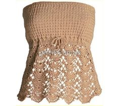 Lovely top, crocheted with two patterns - tight bodice, and bottom - laced. If desired, you can tie straps.