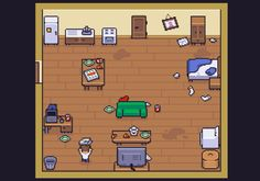 Good Impression a fun little game made for the Ludum Dare 37 sees you rushing to tidy up your one room apartment before your mother comes to visit! Your mother has asked to stop by your new place Game Design, Pixel Circle, Game Art, Indie, 8 Bit Art, Pixel Animation, Pixel Art Games, Pixel Design, Game Concept