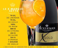 Le cocktail Xgold Marquisette de la Maison Ackerman est un cocktail frais, savoureux et pétillant décliné autour du citron, de la vanille et de l'orange. Cocktails, Alcoholic Drinks, Loire, Wine Glass, Tableware, Food, Beverages, Faces, Strawberry Fruit