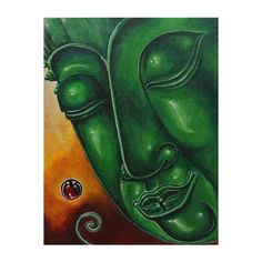 NOVICA Signed Original Thai Buddha Painting in Acrylic on Canvas ($218) ❤ liked on Polyvore featuring home, home decor, wall art, expressionist paintings, green, paintings, acrylic wall art, green home decor, acrylic painting and novica
