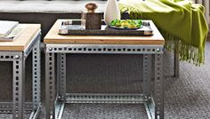DIY cool and modern industrial side tables.  So easy to make!