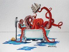 """Red Octopus Having A Bath""-JJ Galloway"