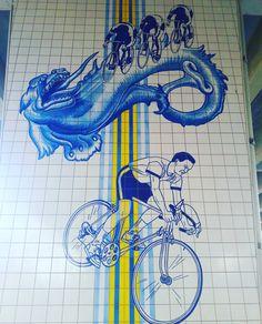 Cycling with Dragons. Lisbon is rich in details in every corner. Enjoy! #eduardonery #publicart #art #ceramics #glazedtiles #azulejos #lisbon #lisbontailoredtours #lisbonwithpats