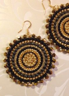 Black and Gold Crystal Goddess Seed Bead Earrings - Big Bold Disc Earrings - Beadwork Jewelry - Statement Jewelry by WorkofHeart on Etsy Big Earrings, Seed Bead Earrings, Beaded Earrings, Earrings Handmade, Seed Beads, Beaded Jewelry, Beautiful Earrings, Statement Jewelry, Bracelets