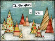 Holiday Original Art Painting: 9x12 Christmastime is by JCSpock